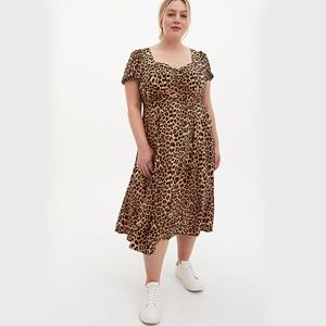 Torrid Leopard Stretch Challis Skater Midi Dress
